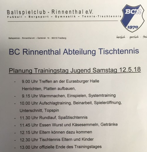 2018 05 TrainingstagJugend Programm